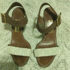 Brown and Cream Salvatore Fegerramo Heeled Sandals